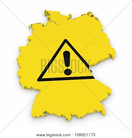 German Hazard Concept Image - 3D Outline Of Germany Textured With Exclamation Mark Hazard Symbol