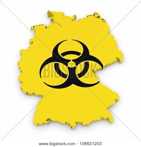 German Biological Hazard Concept Image - 3D Outline Of Germany Textured With Biohazard Symbol