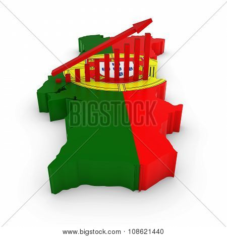 Portuguese Economic Growth Concept Image - Upward Sloping Graph On 3D Outline Of Portugal Textured W