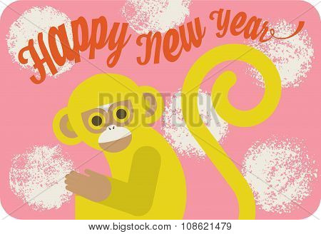 Chinese new year card with cute cartoon monkey, lettering and textured circles on pink background.