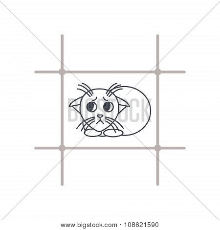 Frightened kitten in cage line icon