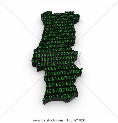 Portuguese Technology Industry Concept Image - 3D Outline Of Portugal Textured With Green Binary Cod