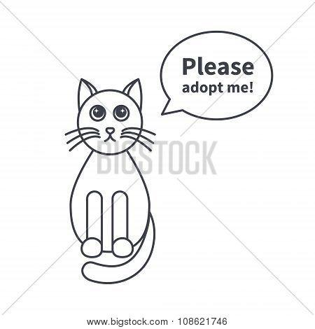 Adoptable cat line icon