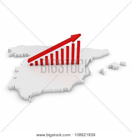 Spanish Economic Growth Concept Image - Upward Sloping Graph On White 3D Outline Of Spain