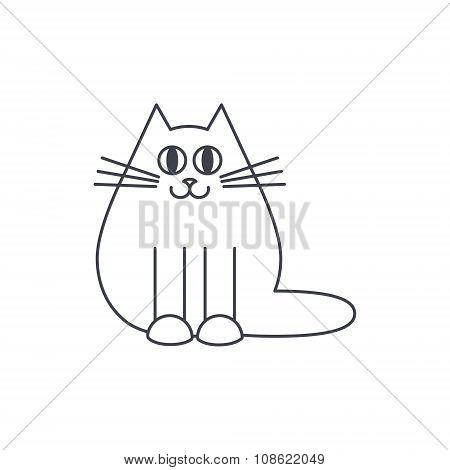 Happy cat line icon