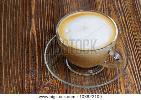 Glass Transparent Cup With Cappuccino