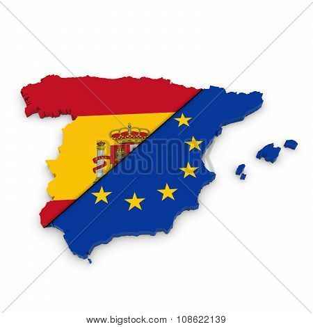 Spanish And European Union Relations Concept Image - 3D Outline Of Spain Textured With Mix Of Spanis