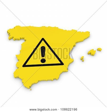 Spanish Hazard Concept Image - 3D Outline Of Spain Textured With Exclamation Mark Hazard Symbol