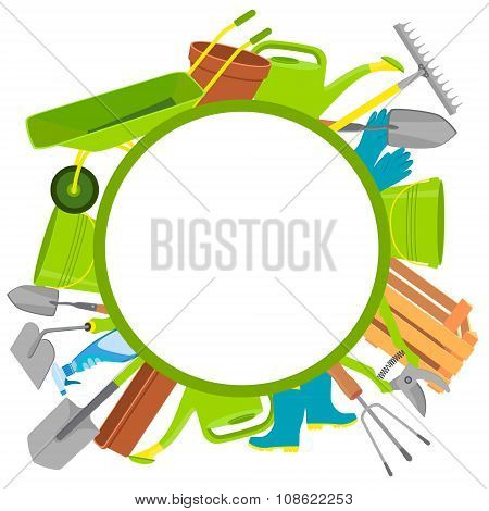Round background garden tools with space for text. Vector illustration