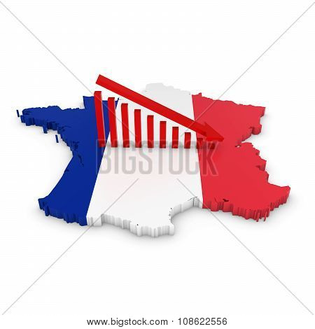 French Economic Decline Concept Image - Downward Sloping Graph On 3D Outline Of France Textured With