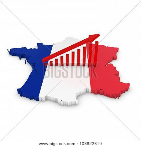 French Economic Growth Concept Image - Upward Sloping Graph On 3D Outline Of France Textured With Th