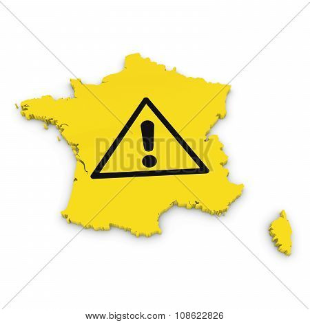 French Hazard Concept Image - 3D Outline Of France Textured With Exclamation Mark Hazard Symbol