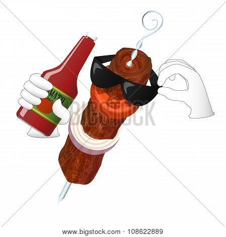 Kebab man loves tomato ketchup