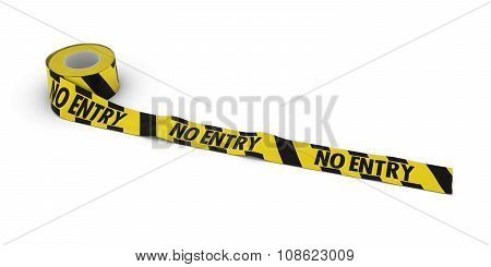 Yellow And Black Striped No Entry Tape Roll Unrolled Across White Floor