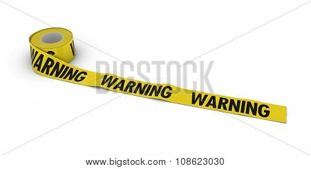 Warning Tape Roll Unrolled Across White Floor