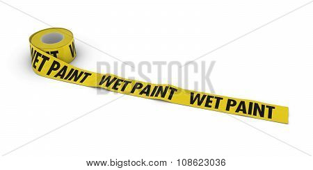 Wet Paint Tape Roll Unrolled Across White Floor