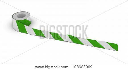 Green And White Striped Barrier Tape Roll Unrolled Across White Floor