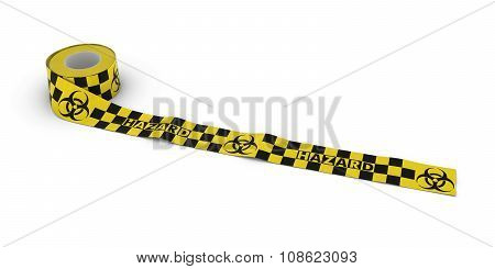 Biohazard Tape Roll Unrolled Across White Floor