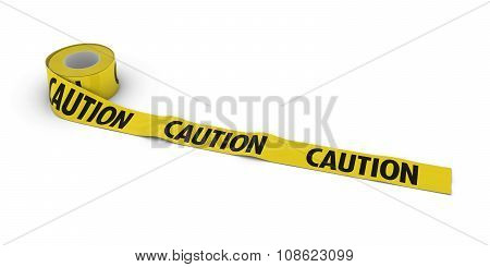 Caution Tape Roll Unrolled Across White Floor