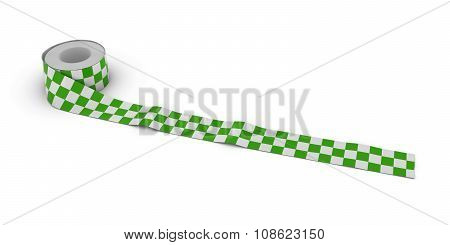 Green And White Checkered Tape Roll Unrolled Across White Floor