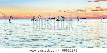 Windsurfers On The Horizon