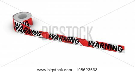 Red And White Striped Warning Tape Roll Unrolled Across White Floor