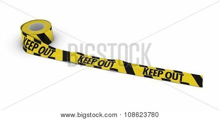 Yellow And Black Striped Keep Out Tape Roll Unrolled Across White Floor
