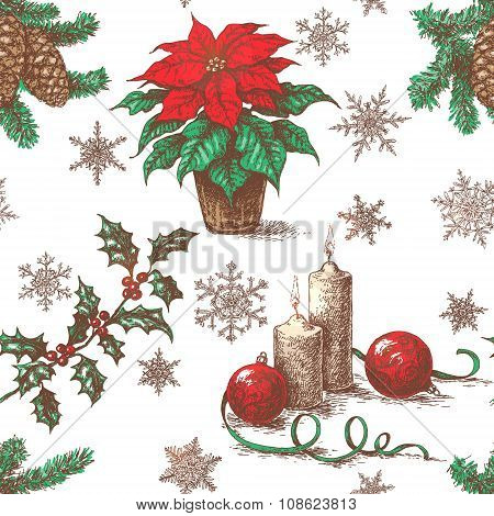 Seamless Pattern With Sketch  Of  Christmas Decorations