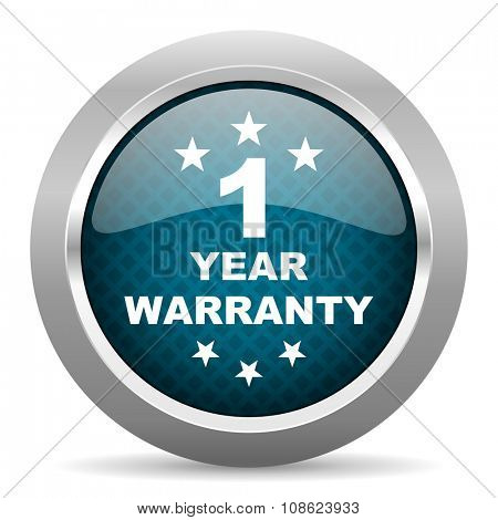 warranty guarantee 1 year blue silver chrome border icon on white background
