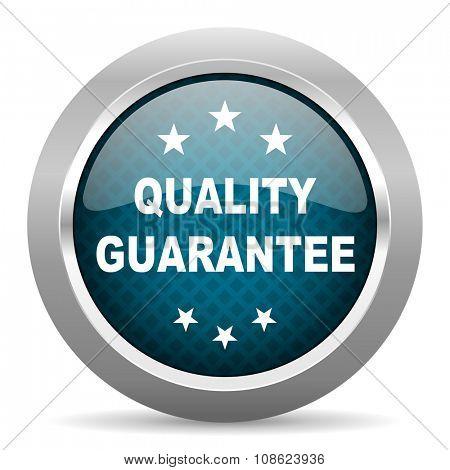quality guarantee blue silver chrome border icon on white background