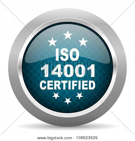 iso 14001 blue silver chrome border icon on white background