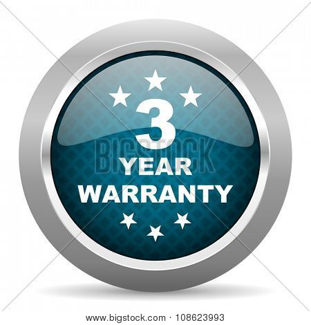 warranty guarantee 3 year blue silver chrome border icon on white background