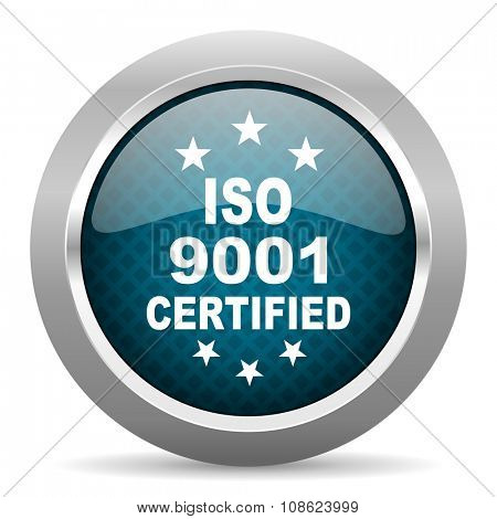 iso 9001 blue silver chrome border icon on white background