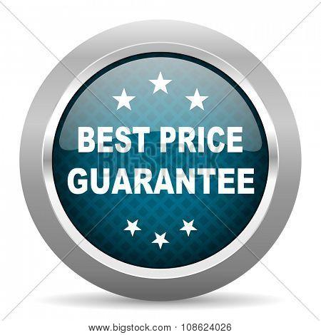 best price guarantee blue silver chrome border icon on white background