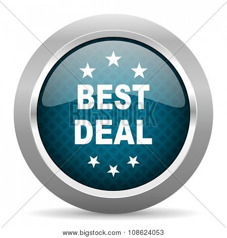 best deal blue silver chrome border icon on white background