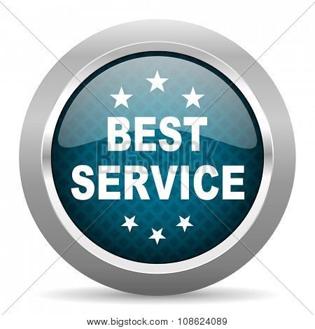 best service blue silver chrome border icon on white background