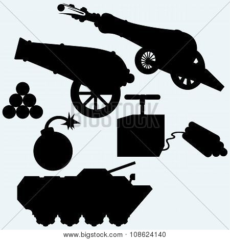 Set artillery, cannon, tank and bombs