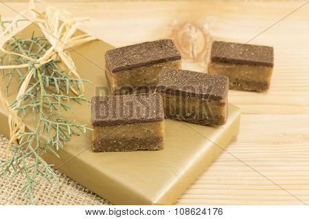 Sweet Candies Treat On A Wooden Background