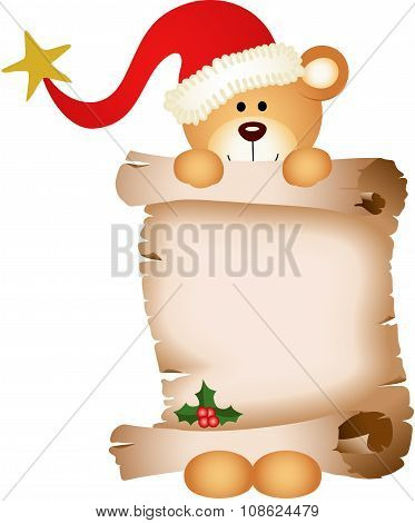Teddy bear with parchment