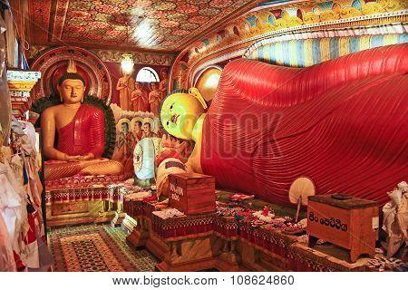 POLLONUARUWA, SRI LANKA - JUNE 4, 2011: colorful lying Buddah in the Jetavanarama Dagoba Sri Lanka