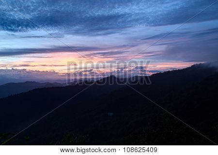 Sunset From Doi Pui View Point Near Wat Phrathat Doi  Suthep