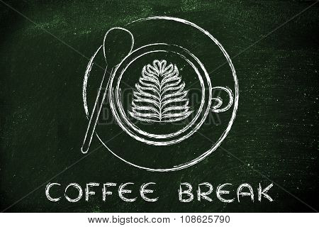 Cup Of Cappuccino With Leaf Design And Text Coffee Break