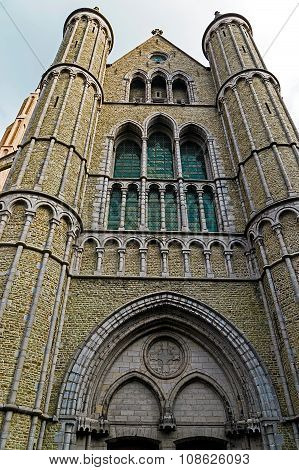 Gothic Facade Of The Church Of Our Lady, Bruges, Belgium 1