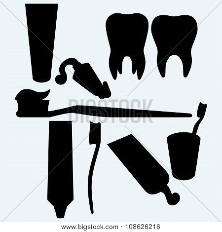 Tooth brushes, tooth paste and human tooth. Stomatology equipment and dental care