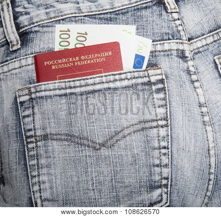 The Passport Of The Citizen Of Russia And Two Hundred Euros In A Hip-pocket Of Jeans