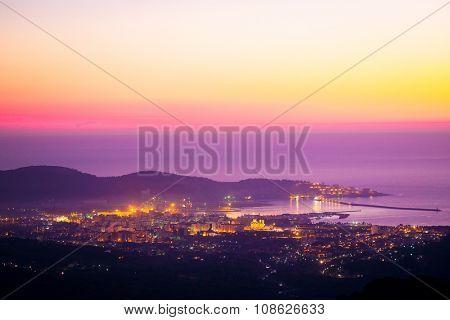 Landscape with the image of Bar panarama, Montenegro,  sunset