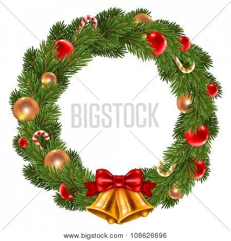 Fluffy Christmas wreath with fir-tree branches and christmas decorations. Red and golden christmas balls, jingle bells and candy canes. Isolated on white background. Vector illustration.