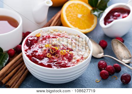 Christmas morning breakfast oatmeal with cranberry