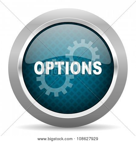 options blue silver chrome border icon on white background