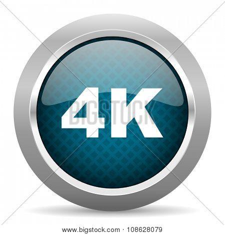 4k blue silver chrome border icon on white background